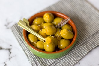 Orange stuffed olives