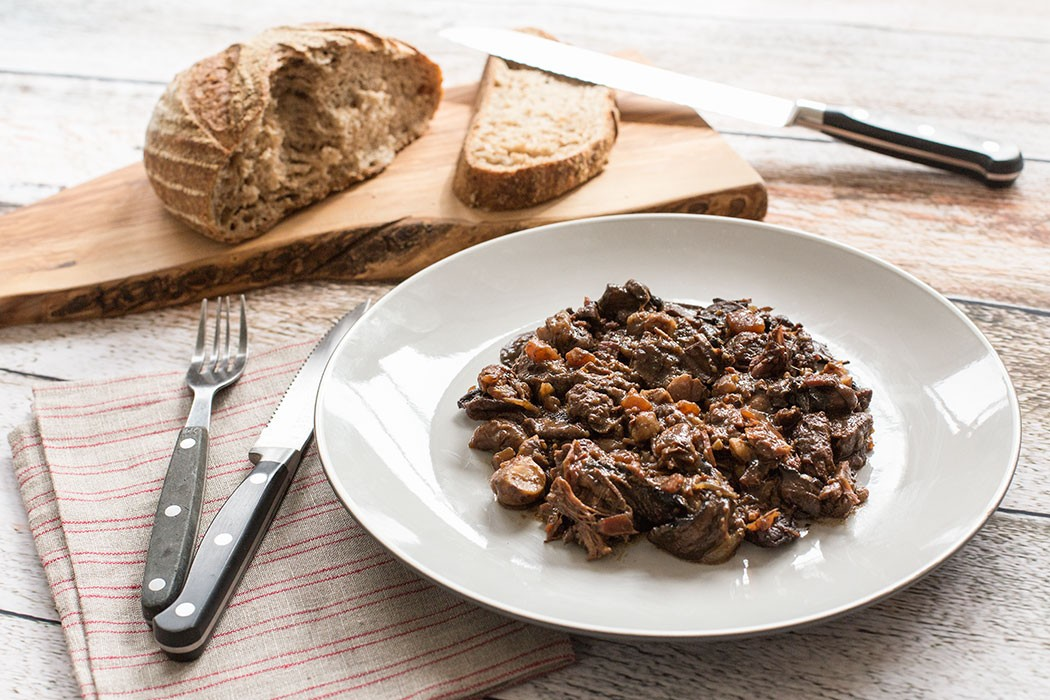 Slow cooked beef stew with chocolate mushrooms and chestnuts