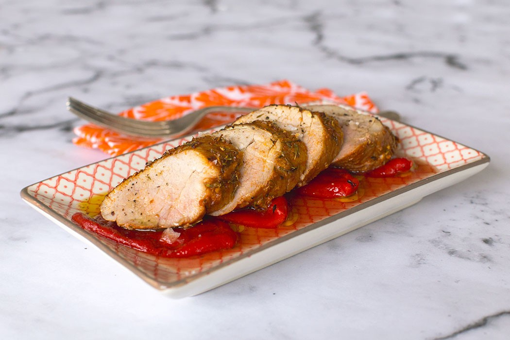marinated pork fillet with piquillo peppers
