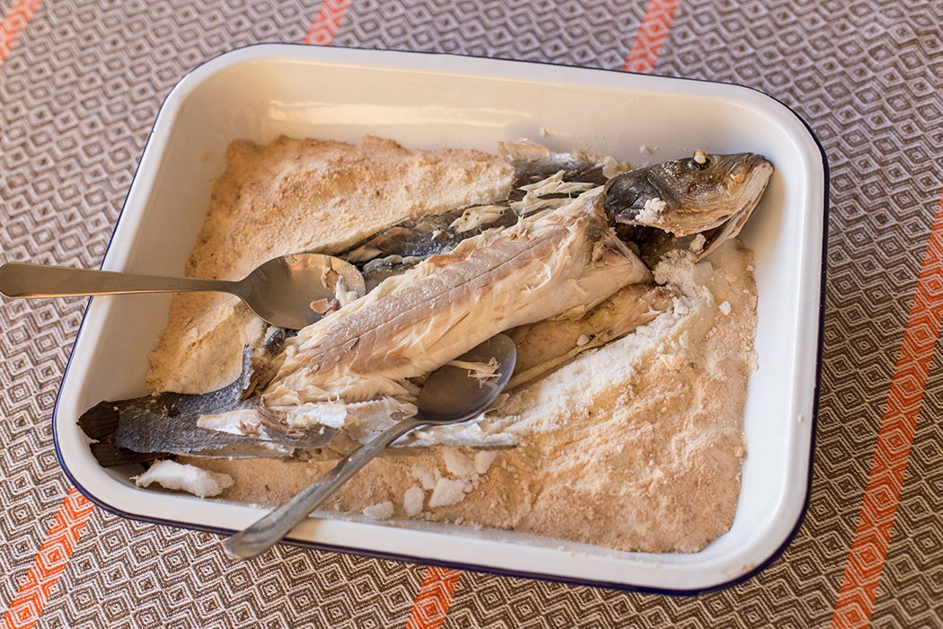 Salt baked sea bass lubina a la sal