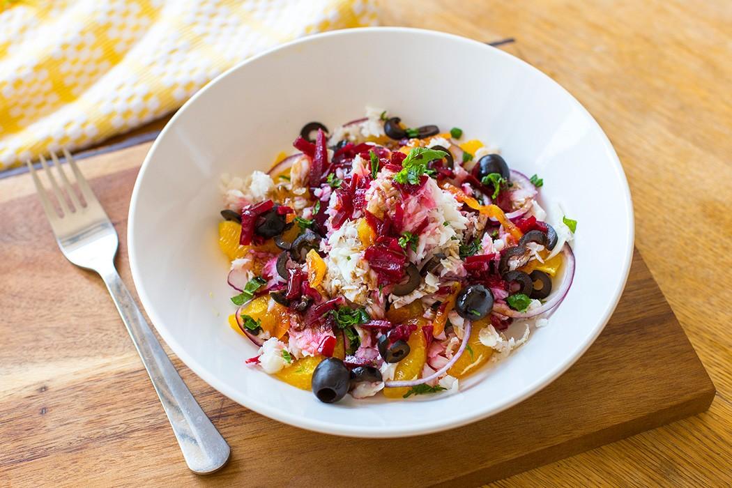 Beetroot orange and bacalao salad