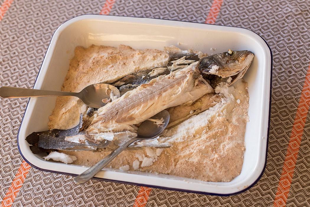 Salt baked sea bass lubina a la sal